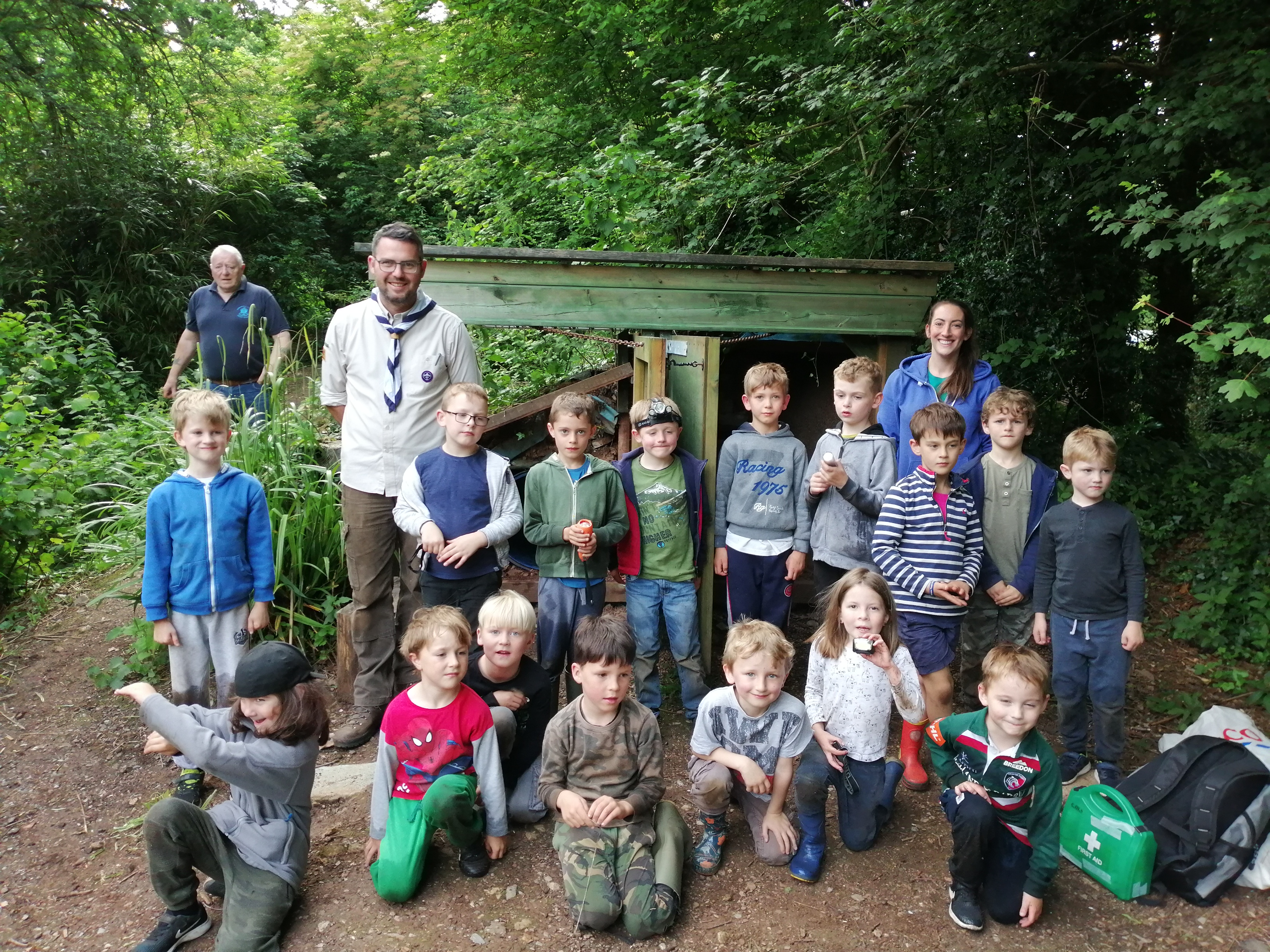 Riverside Beavers caving at Huish Woods, June 2019